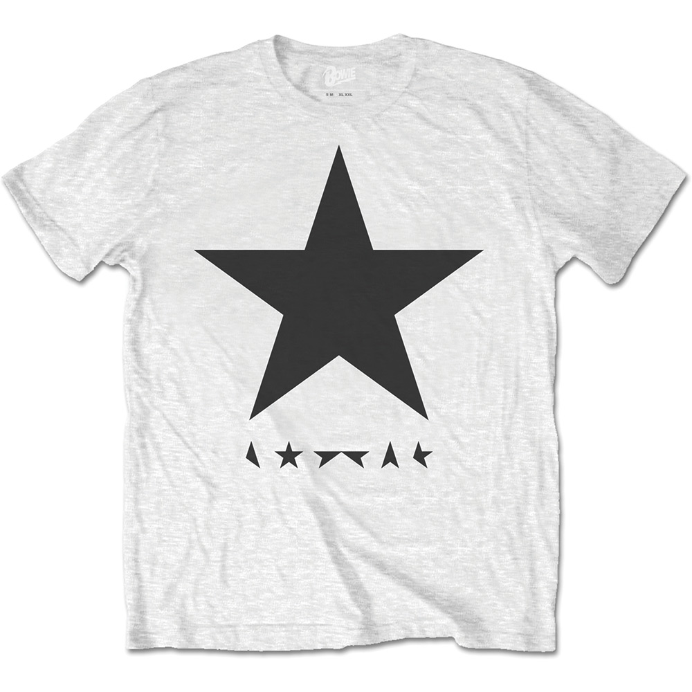 DAVID BOWIE UNISEX TEE: BLACKSTAR (ON WHITE)  BOWIE 4