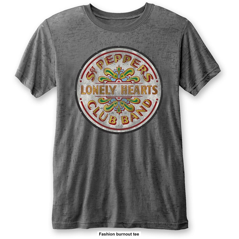 THE BEATLES UNISEX FASHION TEE: SGT PEPPER DRUM (BURN OUT) THE BEATLES 4