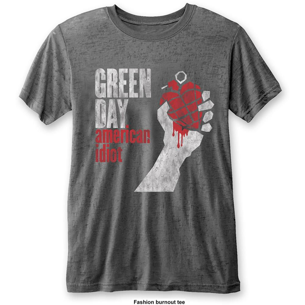 GREEN DAY UNISEX FASHION TEE: AMERICAN IDIOT VINTAGE (BURN OUT) GREEN DAY 1